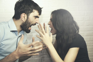 woman and man in fight